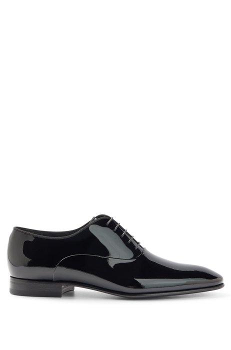 Chaussures Oxford en cuir verni, à passepoil en gros-grain, Noir