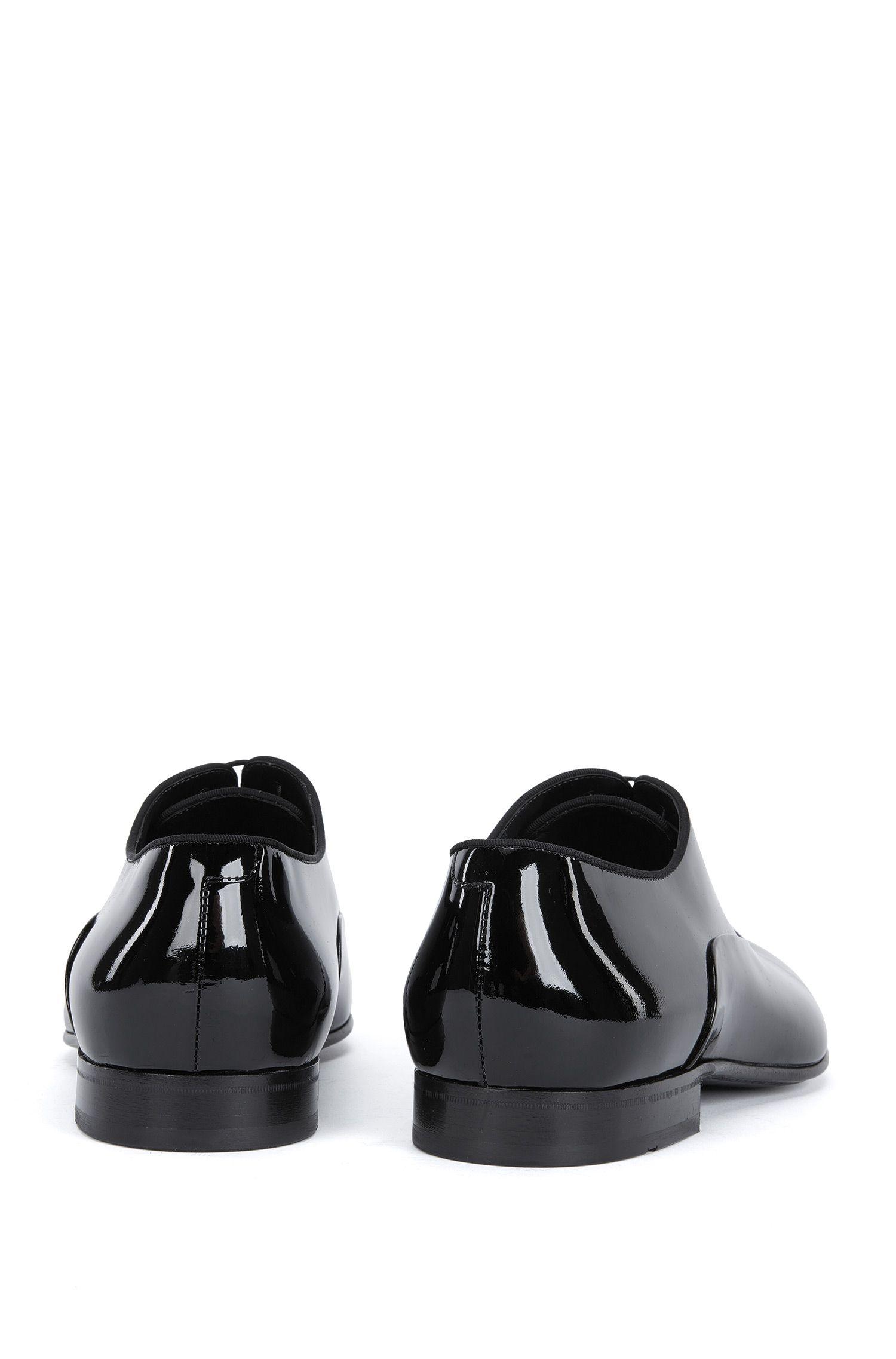 BOSS Hugo Boss Italian Patent Leather Oxford Evening Shoe Evening Oxfr pa 11.5 Black