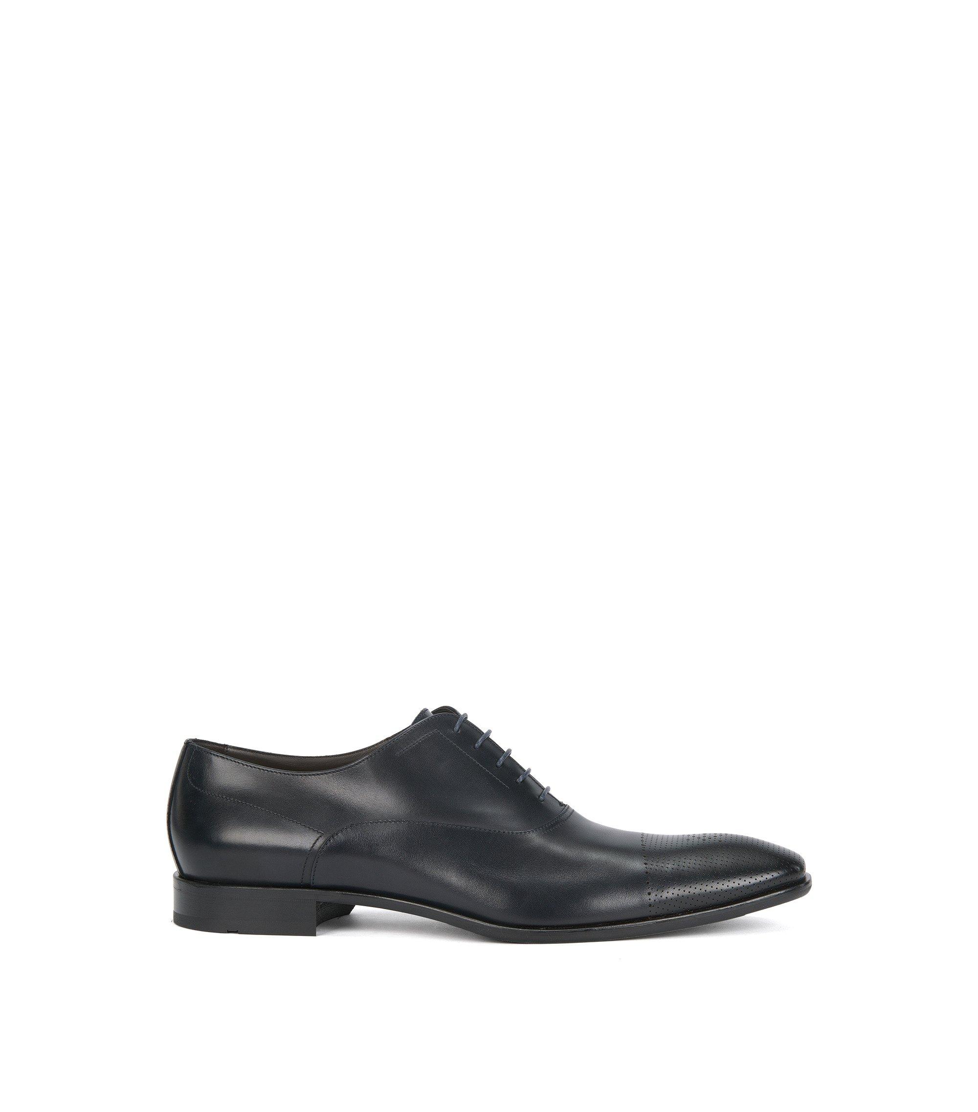 Italian Calfskin Oxford Dress Shoe   Chelsea Oxfr Ctls, Dark Blue