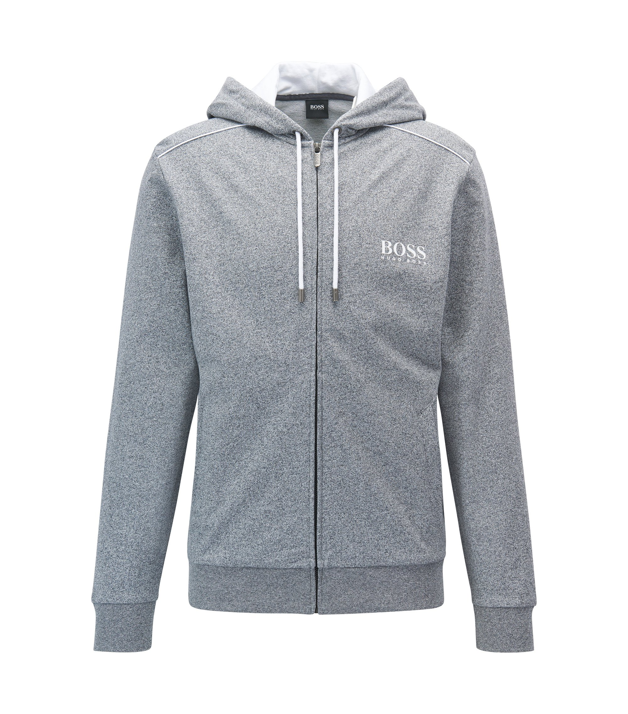 Heathered Cotton Hooded Sweat Jacket | Jacket Hooded, Charcoal
