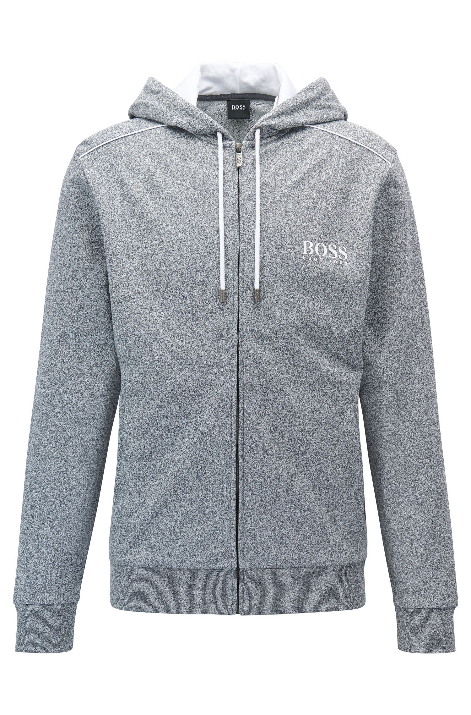 Heathered Cotton Hooded Sweat Jacket | Jacket Hooded