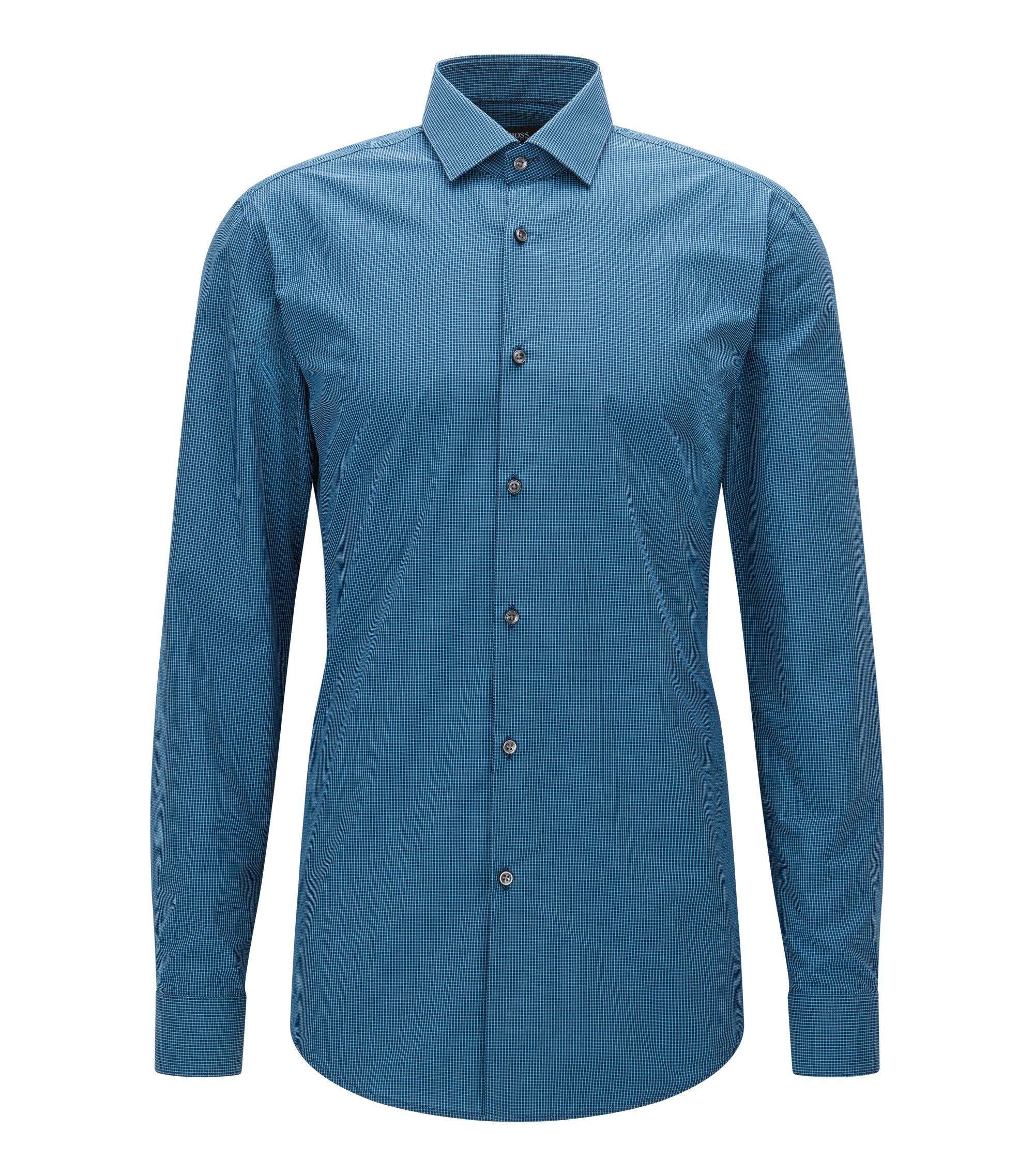 Gingham Cotton Dress Shirt, Slim Fit | Ismo, Dark Blue