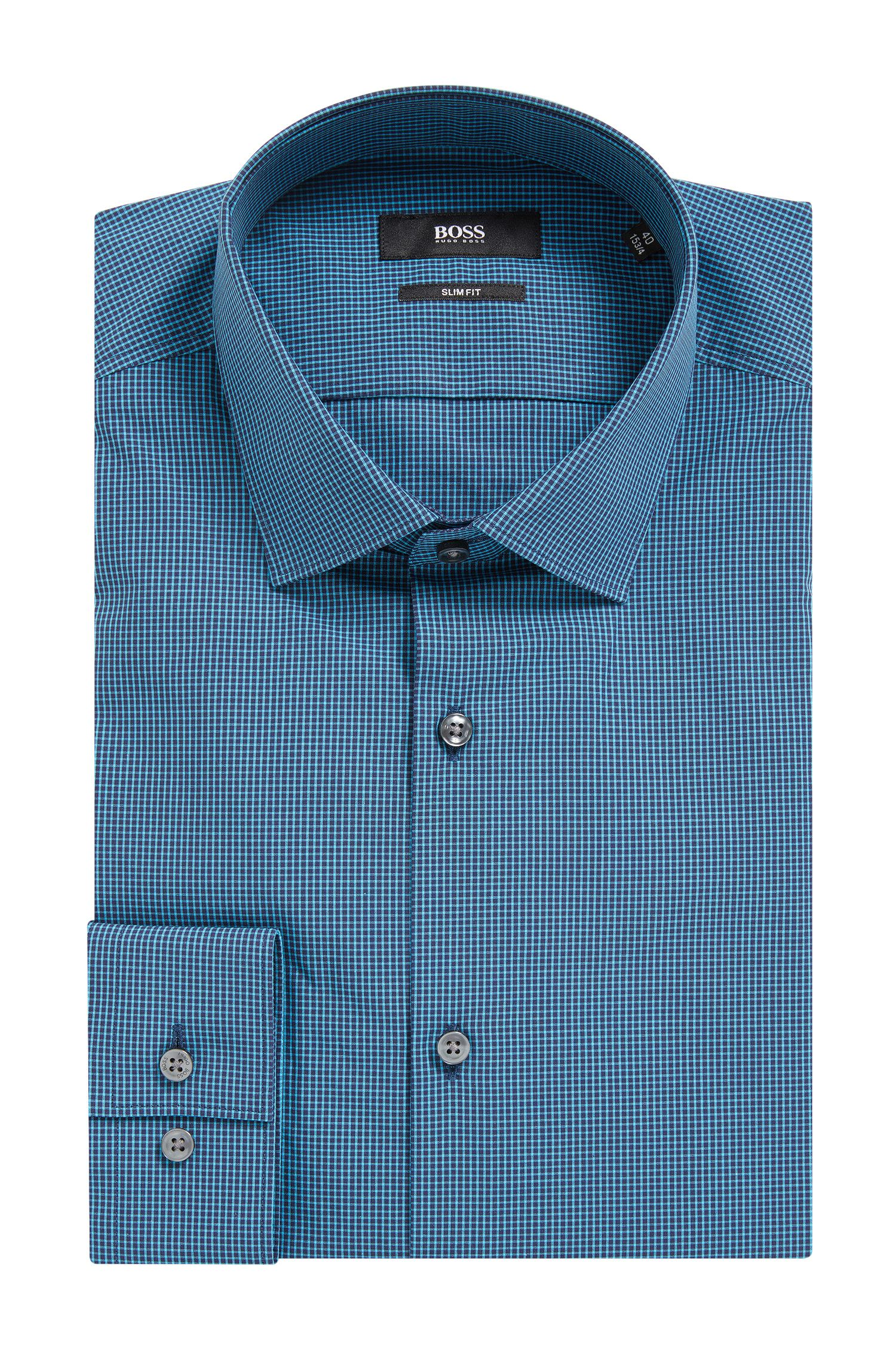 Micro Gingham Cotton Dress Shirt, Slim Fit | Ismo