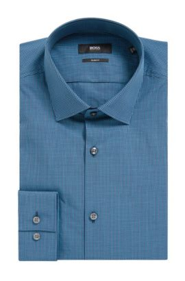 Micro Gingham Cotton Dress Shirt, Slim Fit | Ismo, Dark Blue