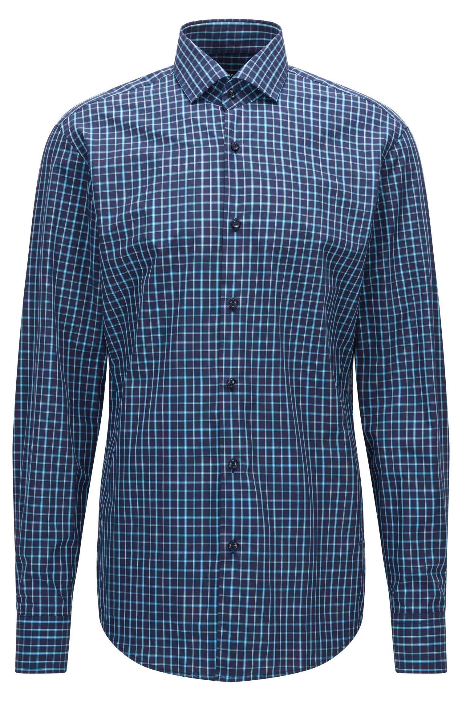 Double Windowpane Cotton Dress Shirt, Regular Fit   Gordon