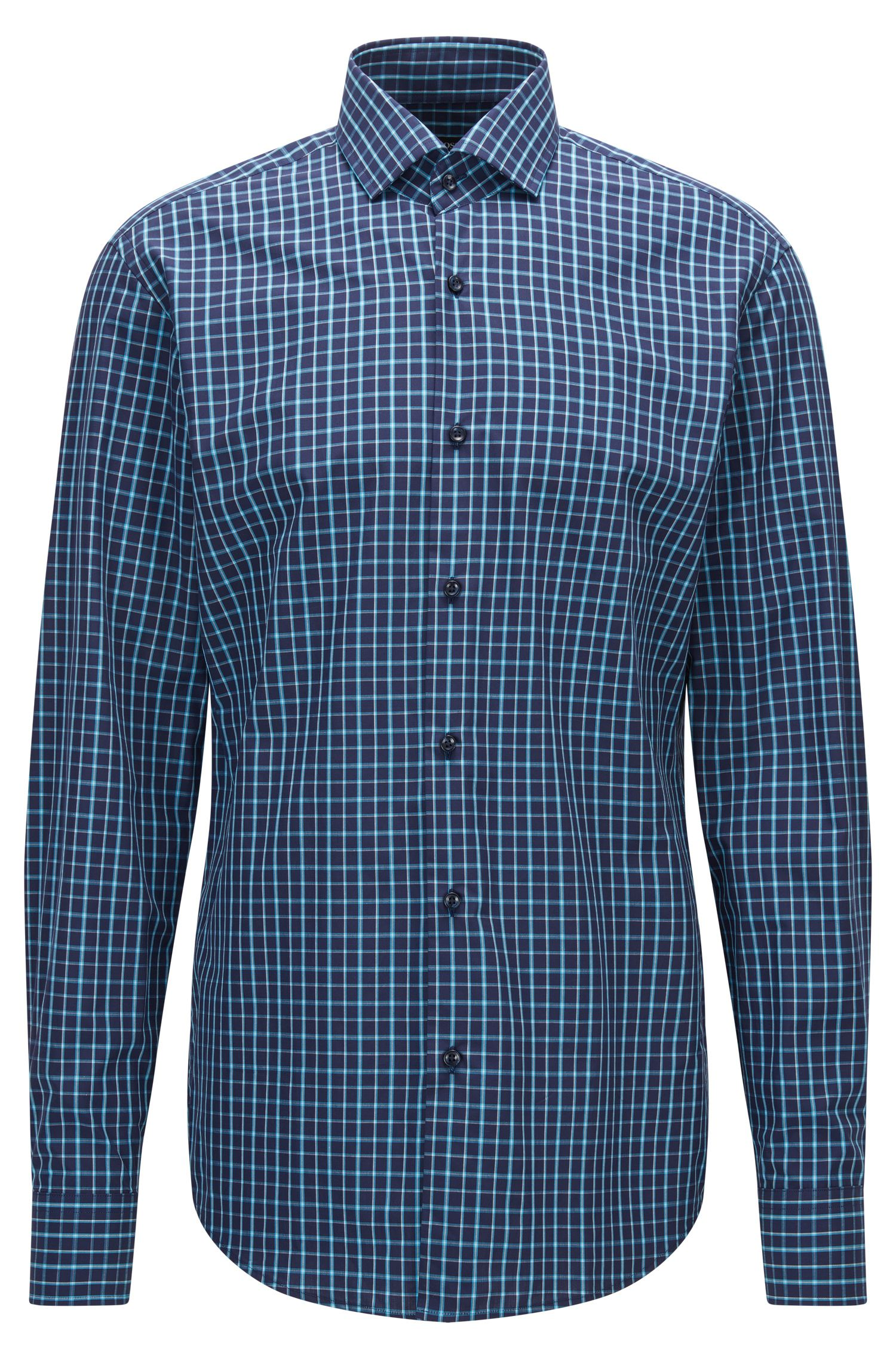 Double Windowpane Cotton Dress Shirt, Regular Fit | Gordon
