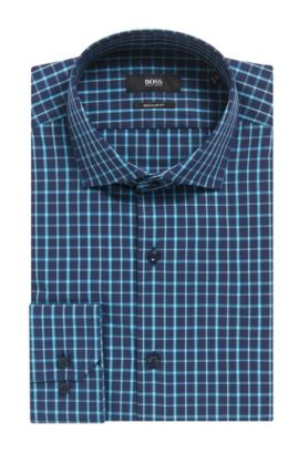 Double Windowpane Cotton Dress Shirt, Regular Fit | Gordon, Dark Blue