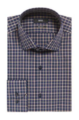 Double Windowpane Cotton Dress Shirt, Regular Fit | Gordon, Dark Blue