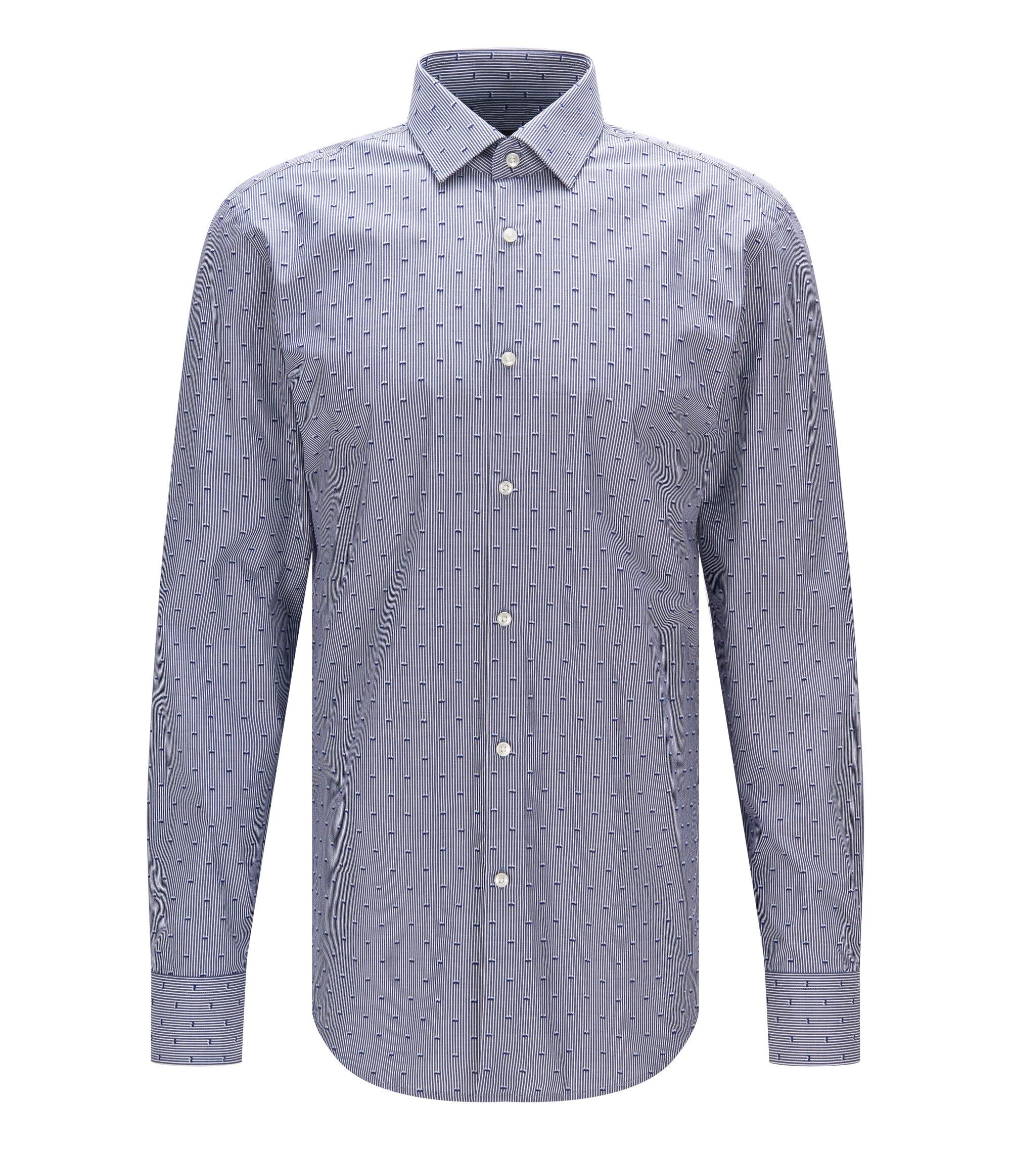 Cotton Dress Shirt, Slim Fit   Jenno , Dark Blue