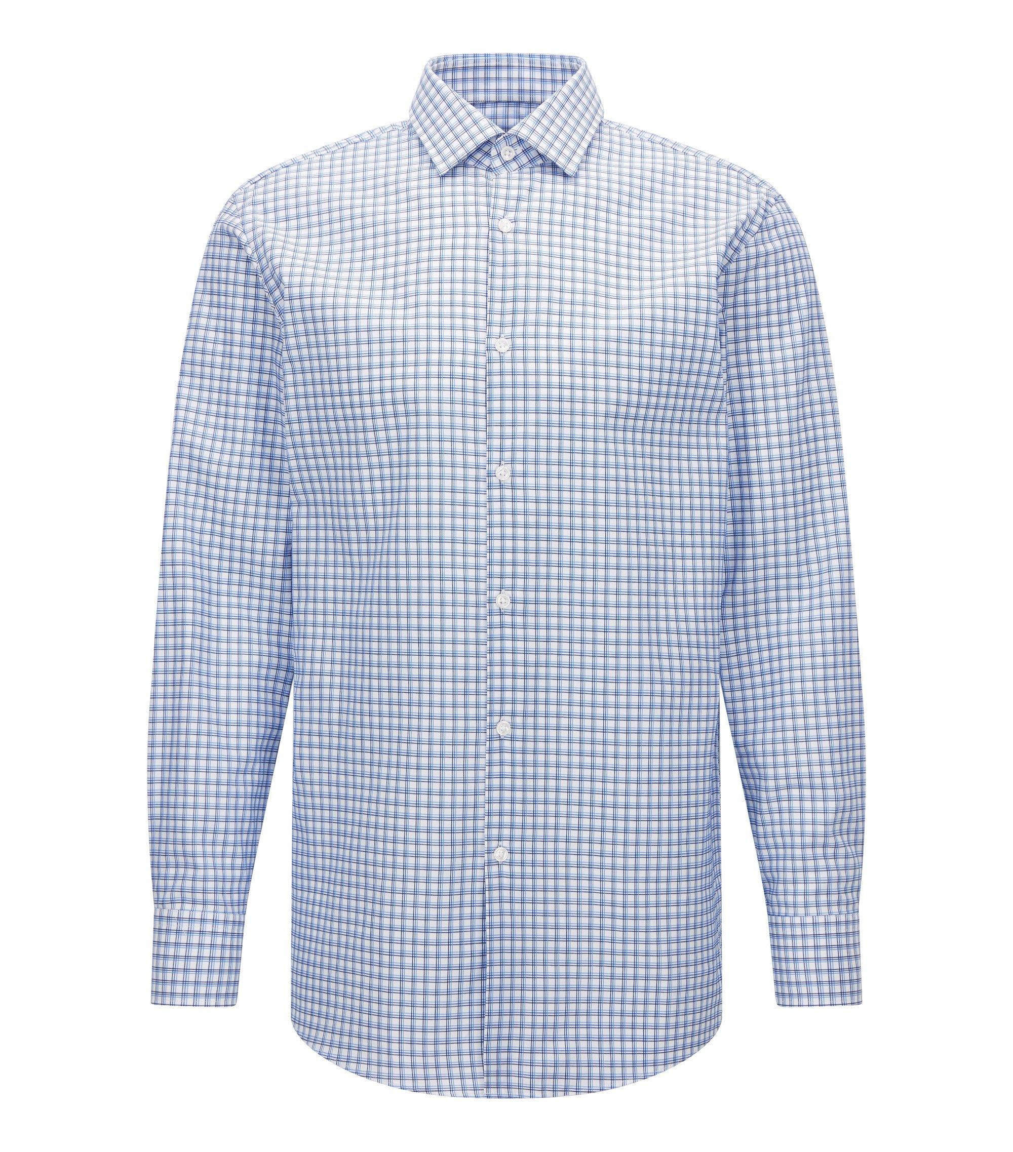Tattersall Cotton Dress Shirt, Sharp Fit | Marley US, Blue