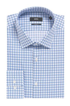 Tattersall Cotton Dress Shirt, Sharp Fit | Marley US, Blue