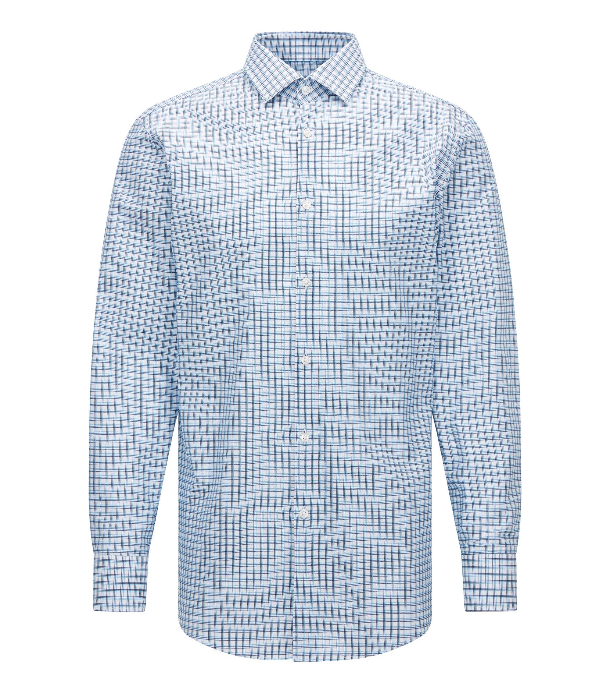 Tattersall Cotton Dress Shirt, Sharp Fit   Marley US, Turquoise