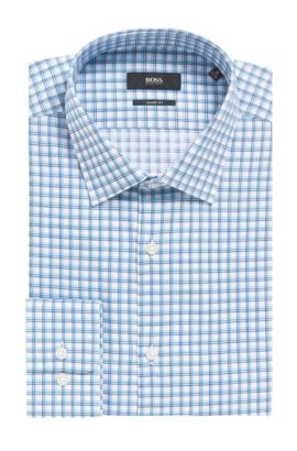 Tattersall Cotton Dress Shirt, Sharp Fit | Marley US, Turquoise