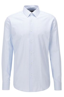 Crosshatch Easy Iron Cotton Dress Shirt, Regular Fit | Enzo, Light Blue