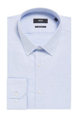 'Enzo' | Regular Fit, Crosshatch Easy Iron Cotton Dress Shirt, Light Blue