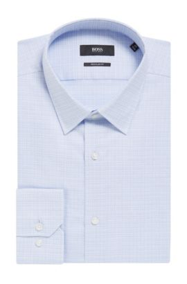 'Enzo' | Regular Fit, Crosshatch Easy Iron Cotton Dress Shirt, Light Blue
