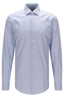 Tattersall Cotton Dress Shirt, Slim Fit | Ismo, Dark Blue