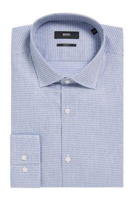 'Ismo' | Slim Fit, Tattersall Cotton Dress Shirt, Dark Blue