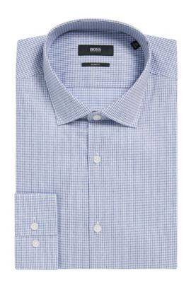 'Ismo' | Slim Fit, Tattersall Cotton Dress Shirt, Dark Blue