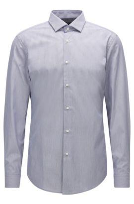 Micro-Striped Easy Iron Cotton Dress Shirt, Slim Fit | Iseo, Dark Blue