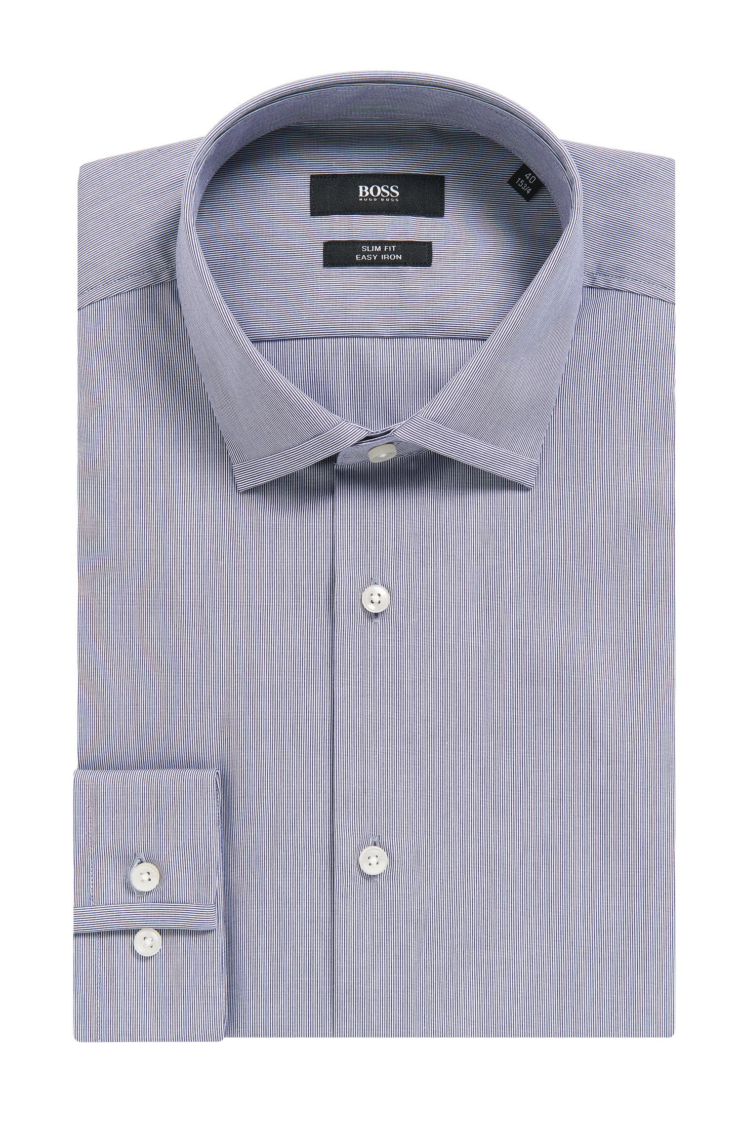 Micro-Striped Easy Iron Cotton Dress Shirt, Slim Fit | Iseo