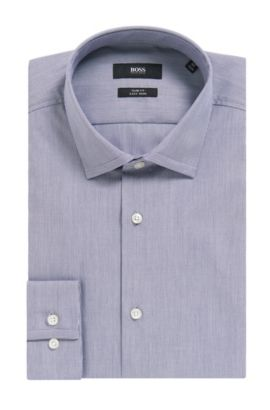 'Ismo' | Slim Fit, Microstriped Easy Iron Cotton Dress Shirt, Dark Blue
