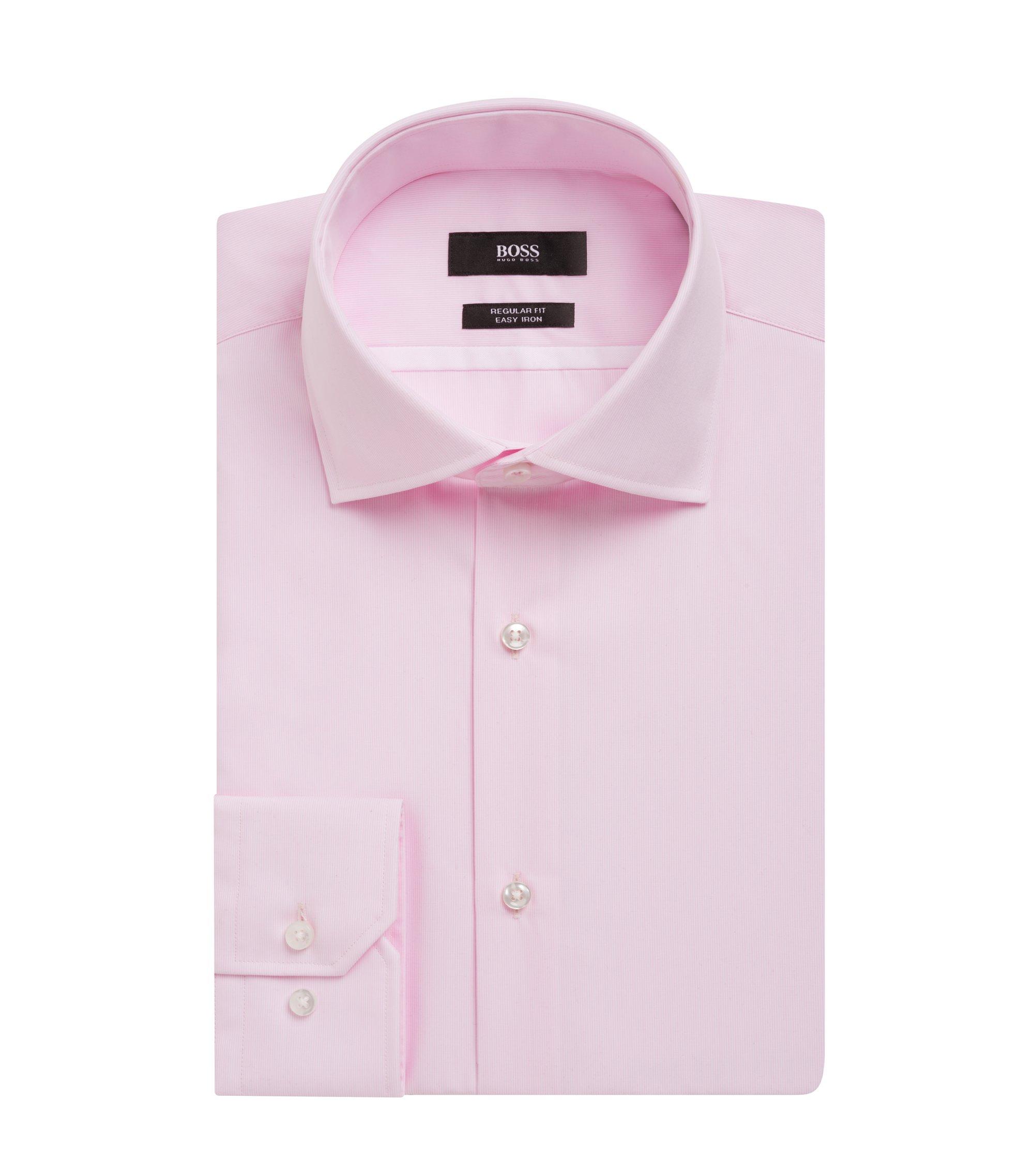 Striped Easy Iron Cotton Dress Shirt, Regular Fit | Gert, light pink