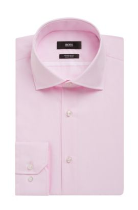 Striped Easy Iron Cotton Dress Shirt, Regular Fit | Gert, light pink