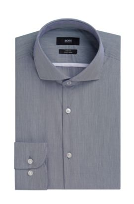 Striped Easy Iron Italian Cotton Poplin Dress Shirt, Slim Fit | Jerrin, Dark Blue