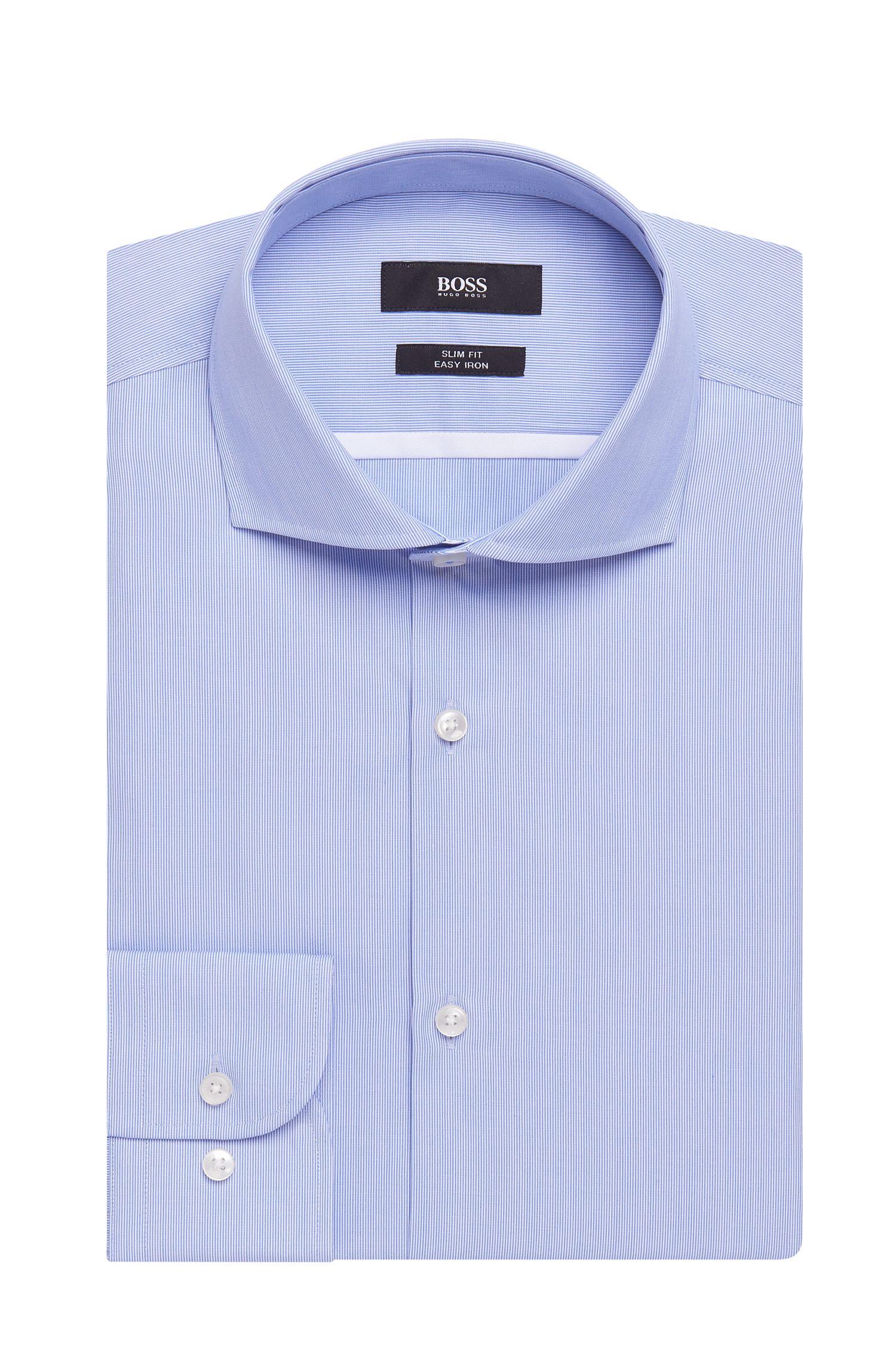 Striped Easy Iron Italian Cotton Poplin Dress Shirt, Slim Fit | Jerrin