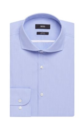 Striped Easy Iron Italian Cotton Poplin Dress Shirt, Slim Fit | Jerrin, Light Blue