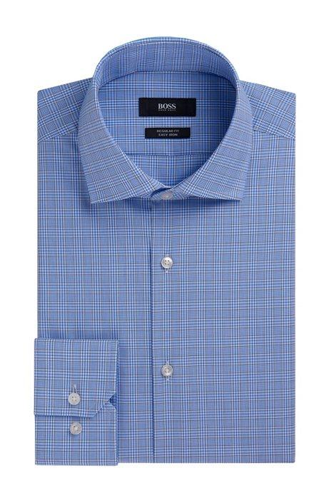 7f112990 Plaid Fresh Active Traveler Dress Shirt, Regular Fit   Gordon, Light Blue