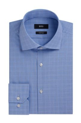 Plaid Fresh Active Traveler Dress Shirt, Regular Fit | Gordon, Light Blue