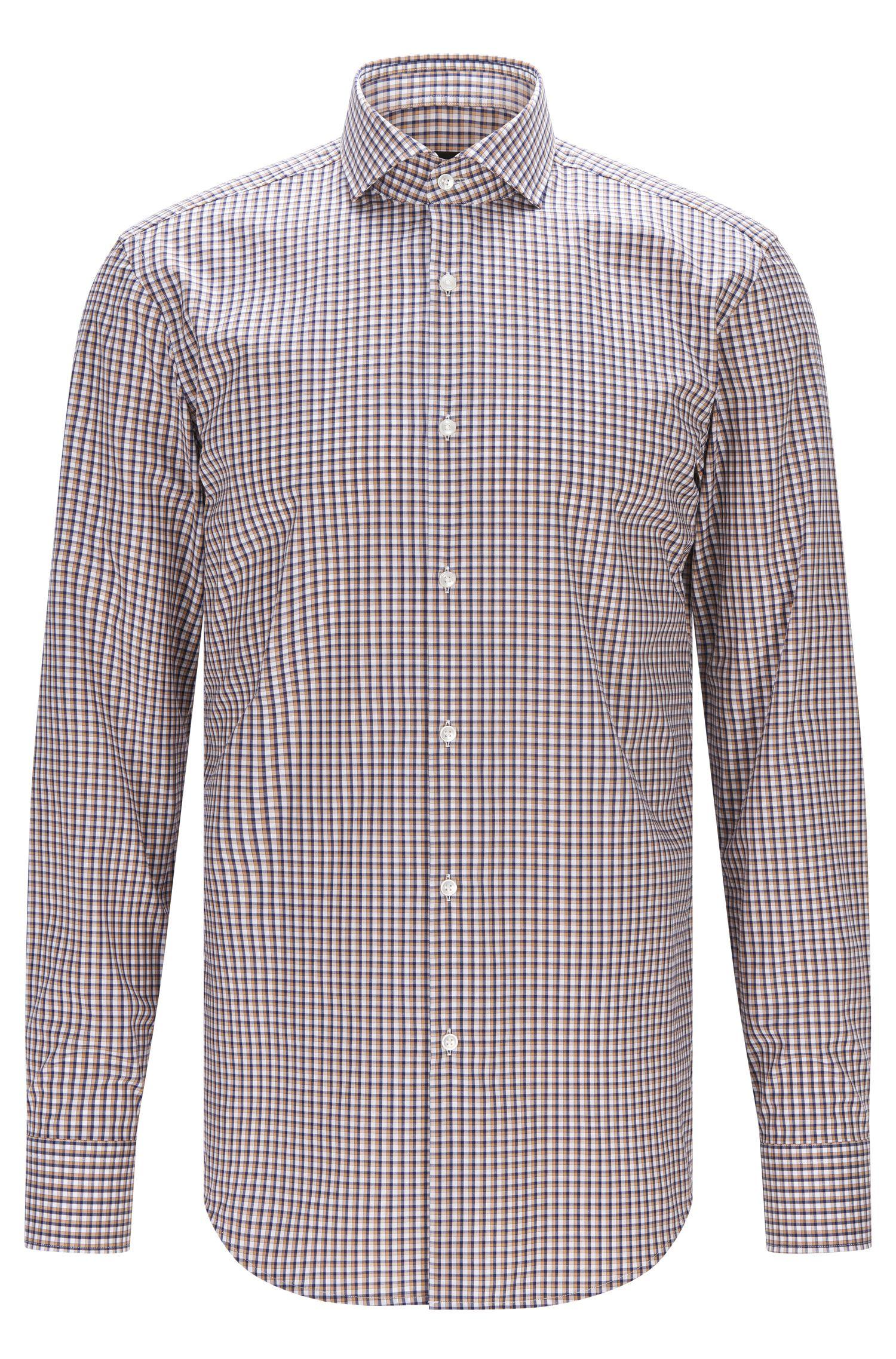 Checked Easy Iron Cotton Dress Shirt, Slim Fit | Jason