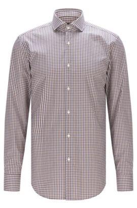 Checked Easy Iron Cotton Dress Shirt, Slim Fit | Jason, Dark Blue