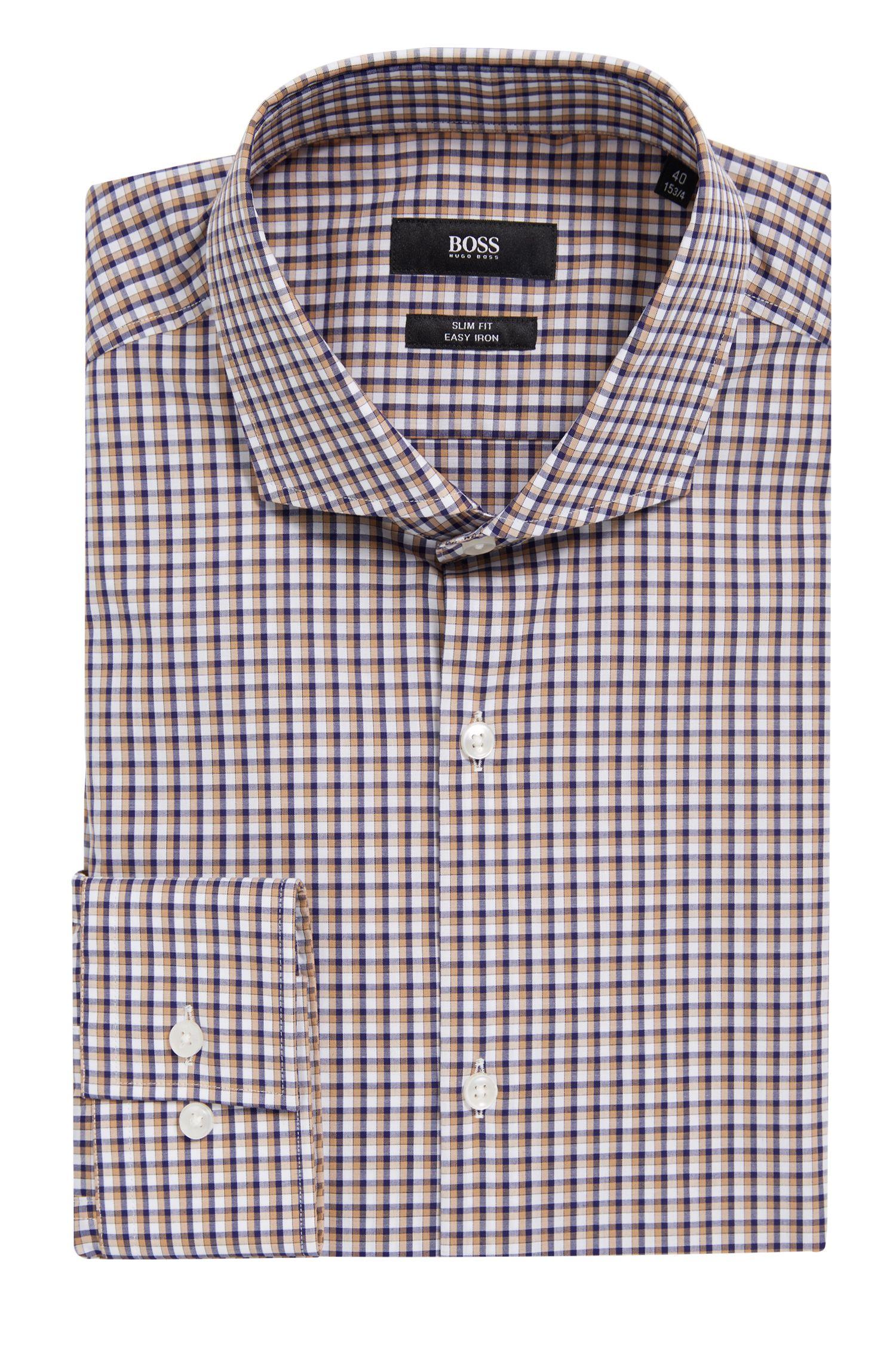 Checked Easy Iron Slim Fit Cotton Dress Shirt, Slim Fit | Jason