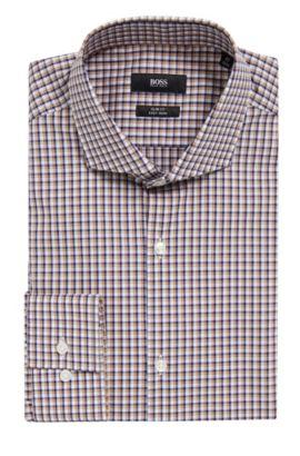 Checked Easy Iron Slim Fit Cotton Dress Shirt, Slim Fit | Jason, Dark Blue