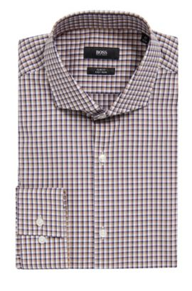 Checked Easy-Iron Slim Fit Cotton Dress Shirt | Jason  , Dark Blue