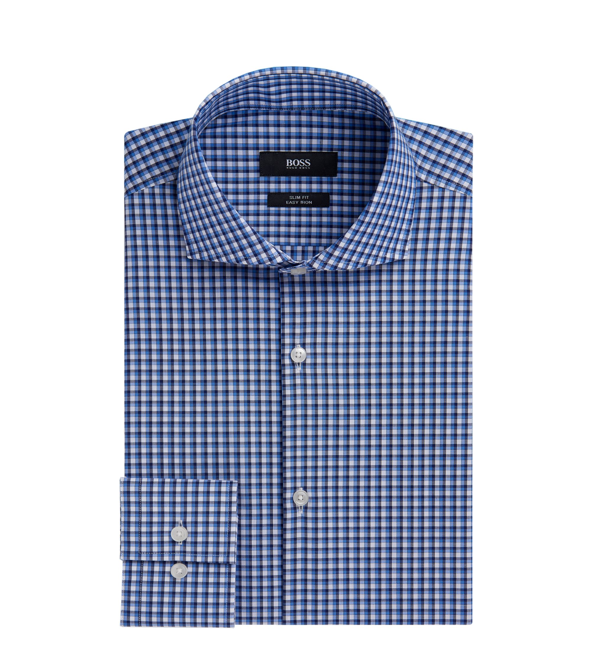 Checked Easy Iron Cotton Dress Shirt, Slim Fit | Jason  , Light Blue