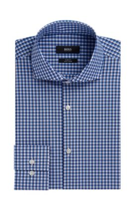 Checked Easy-Iron Slim Fit Cotton Dress Shirt | Jason  , Light Blue