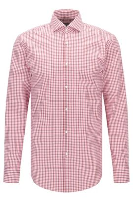 Checked Easy Iron Slim Fit Cotton Dress Shirt, Slim Fit | Jason  , Red