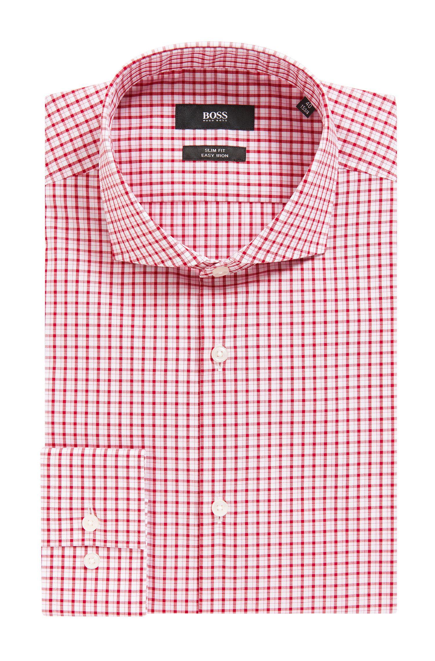 Checked Easy Iron Cotton Dress Shirt, Slim Fit   Jason