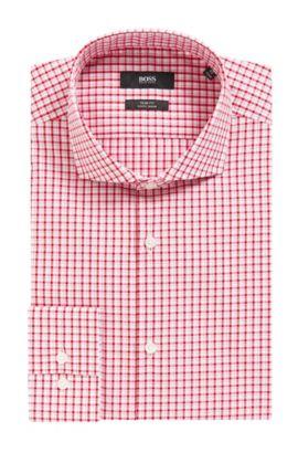 Checked Easy Iron Slim Fit Cotton Dress Shirt, Slim Fit | Jason, Red
