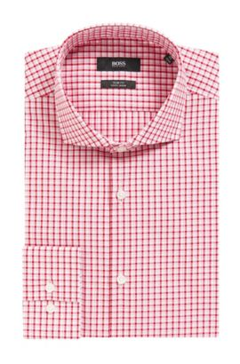 Checked Easy-Iron Slim Fit Cotton Dress Shirt | Jason  , Red