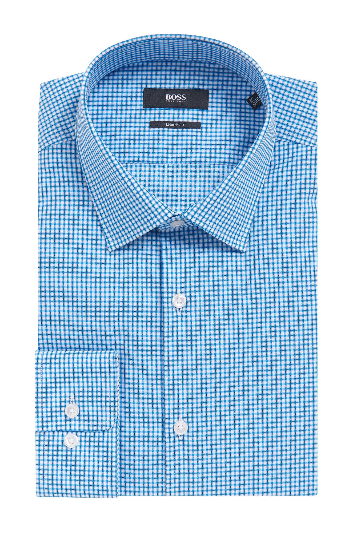 Checked Cotton Dress Shirt, Sharp Fit | Marley US
