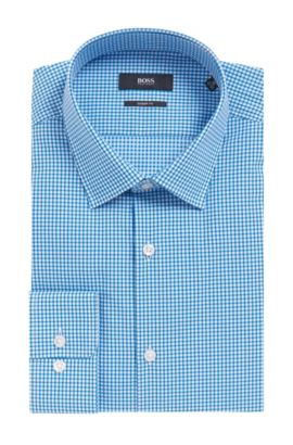 Checked Cotton Dress Shirt, Sharp Fit | Marley US, Turquoise