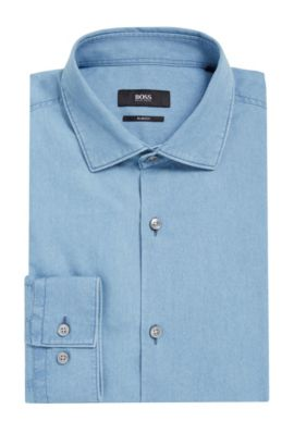 'Ismo' | Slim Fit, Cotton Dress Shirt, Open Blue