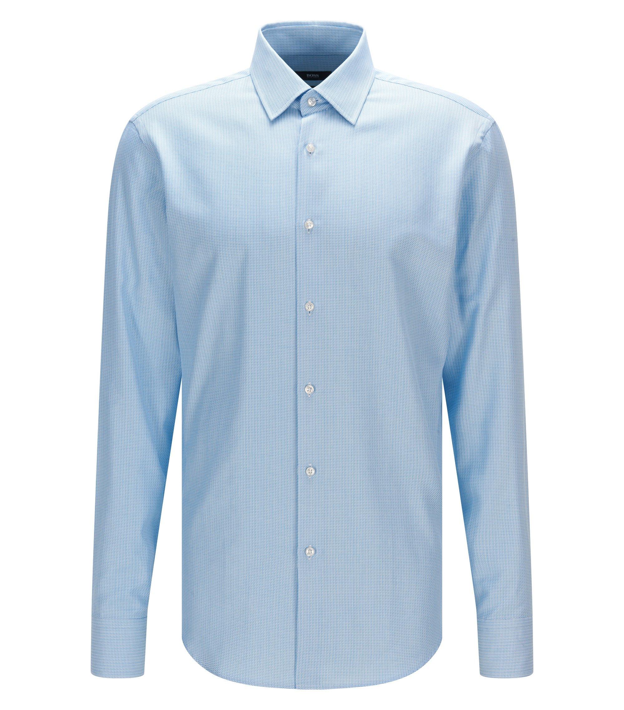 Dobby Italian Cotton Dress Shirt, Regular fit | Enzo, Turquoise