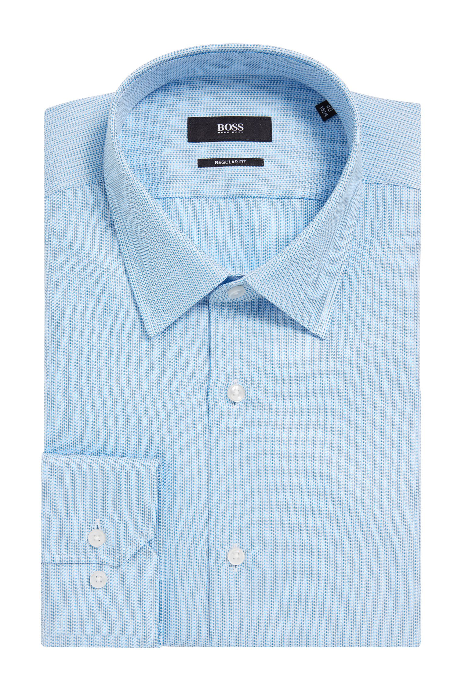 Dobby Italian Cotton Dress Shirt, Regular fit | Enzo