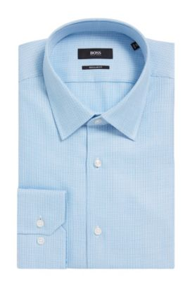 Dobby Italian Cotton Dress Shirt, Regular fit | Enzo, Turquoise